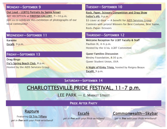 Pride Calendar of Events
