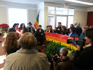 Cville Pride and others in the LGBTQ community gather at the Cville Circuit Court.